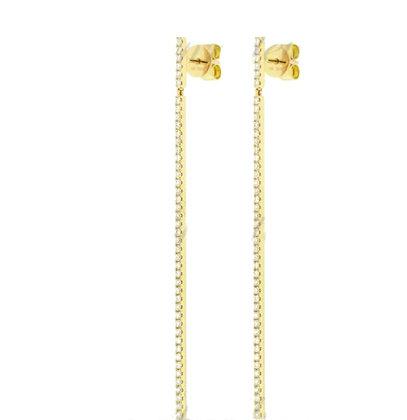 Long thin diamond drop earring