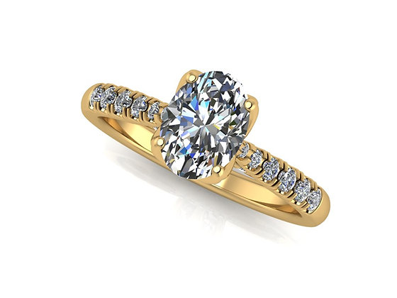 Oval Diamond 18k Yellow gold 0.70ct EVS2