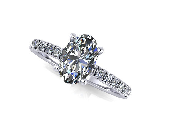 """""""Lara"""" Oval engagement ring with Under halo"""