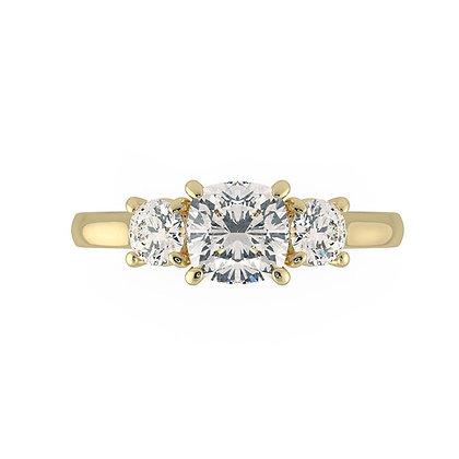 """Pacific"" Cushion cut diamond 3-stone Engagement ring"