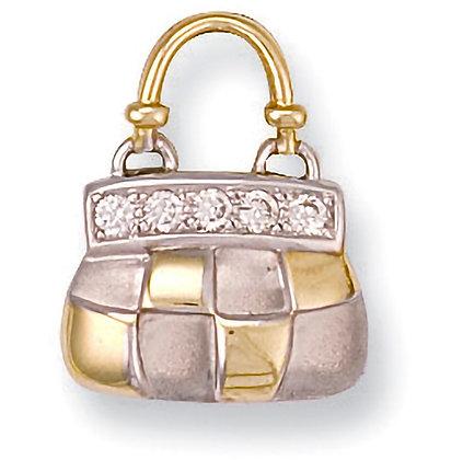 9k Gold and CZ Handbag Pendant