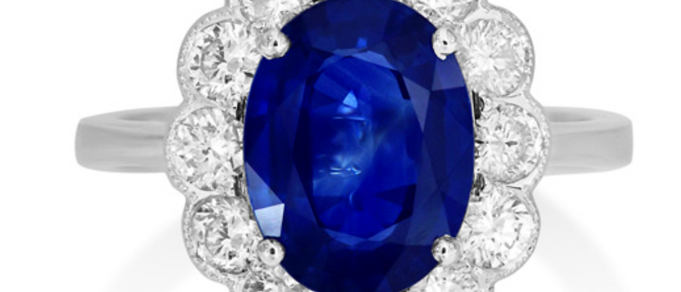 Fine 2ct Oval Sapphire Floral Halo