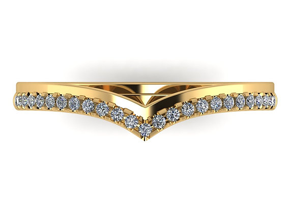 V-shape wishbone band with offset diamonds