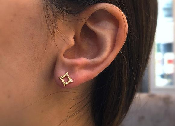 18k rose gold Diamond square earring