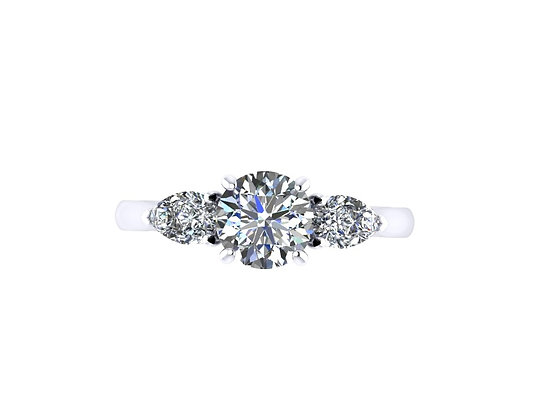 Round with Pear 3-stone engagement ring