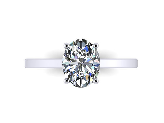 Straight thin band Oval Diamond engagement ring
