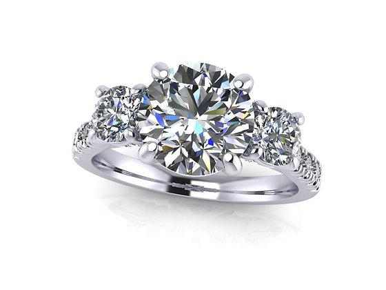 Classic 3stone Round Brilliant ring with bridge diamonds