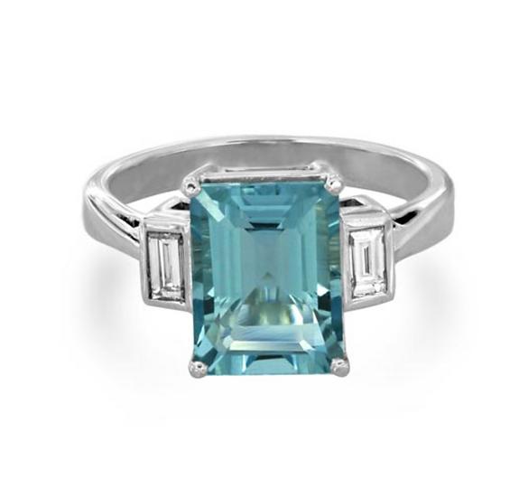 Emerald Aquamarine Sidestone Rubover