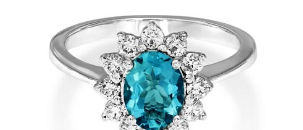 Oval Aquamarine Cluster Diamond ring