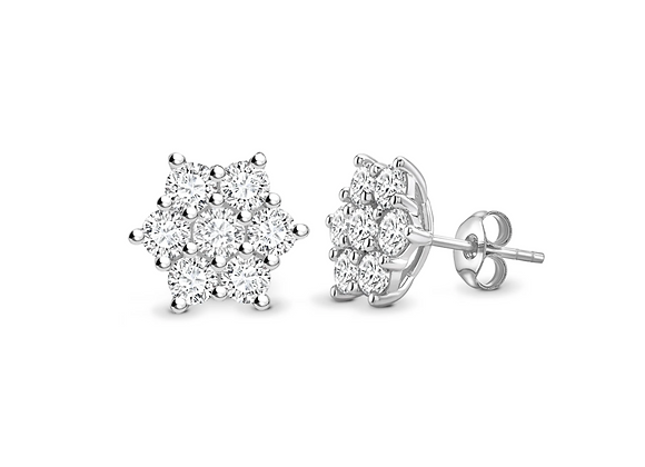 Traditional Round Diamond cluster earring 1.60ct