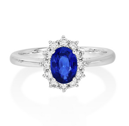 Oval Sapphire and Diamond classic Cluster