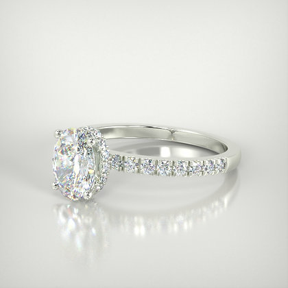 Oval underhalo engagement ring 0.70ct centre