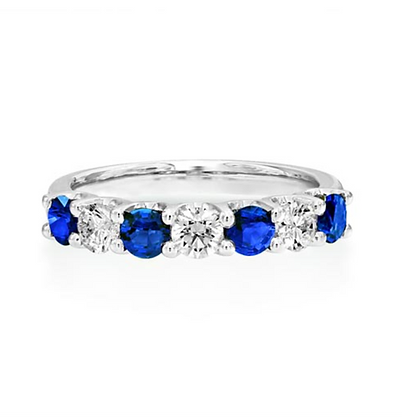 Blue Sapphire  and Diamond Shared Claw Eternity