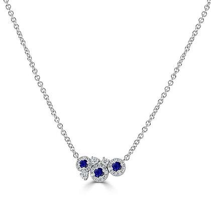 "Sapphire and Diamond ""Dew"" cluster pendant"