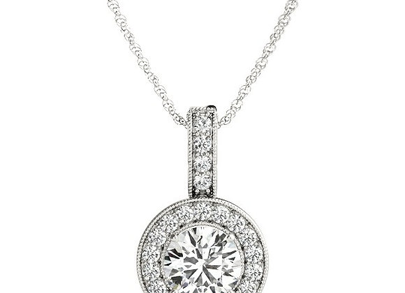 Round Halo Diamond Pendant 4mm centre