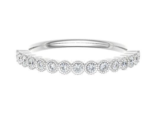 Round Brilliant Bezel set Diamond vintage look wedding/stack ring