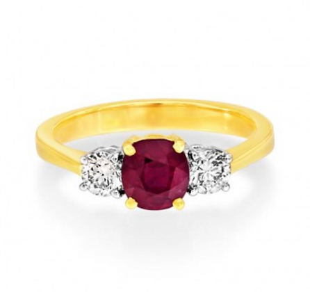 Round Ruby Three Stone