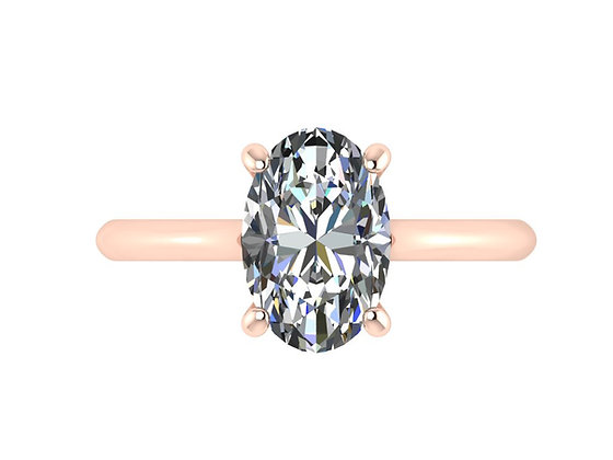 Straight thin Oval Diamond solitaire ring on curved band