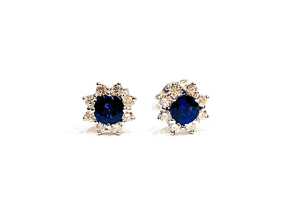 Blue Sapphire daisy cluster earring