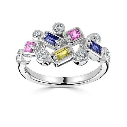 Multi Colour Sapphire and Diamond ring