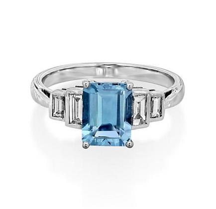 Emerald Aquamarine Cathedral Step Ring