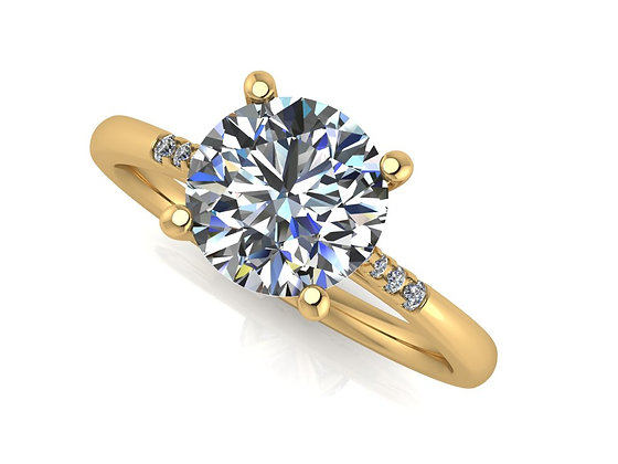 'Tip' Round Brilliant Engagement ring with Diamond-0n-Tip band