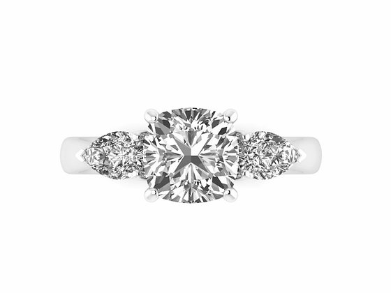 Cushion Cut Diamond 3-stone Engagement ring