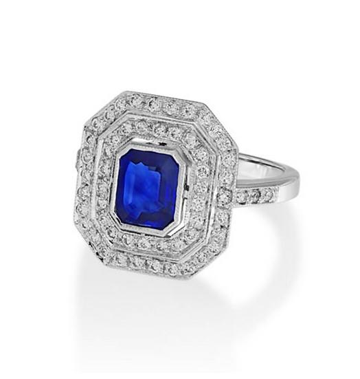 Emerald Cut Sapphire Vintage