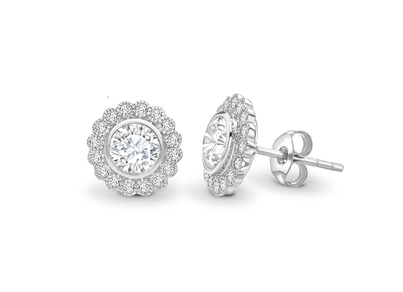 Antique look Round Diamond Floral earrings