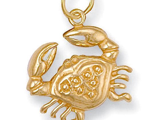 9k Gold Cancer star sign charm pendant