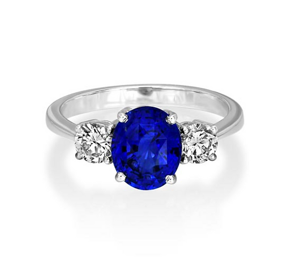Oval Sapphire Three Stone Tapered