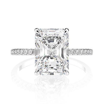 Radiant Cut hidden halo diamond ring/under halo