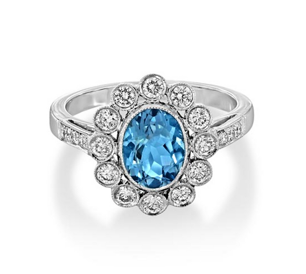 Oval Aquamarine Halo Shoulder Diamonds