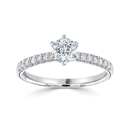 'Duren' six claw Round Brilliant  Engagement ring