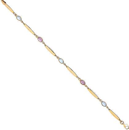9k Y/G Ladies Bracelet With Amethyst & Blue Topaz