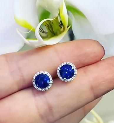 Round AAA 6mm Sapphire halo earrings