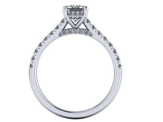 Emerald cut diamond under halo ring with bridge diamonds