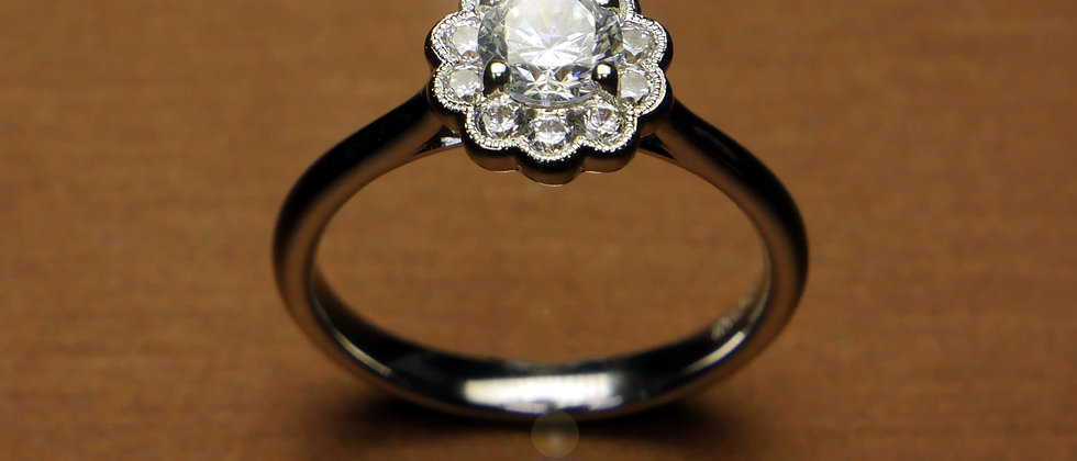Floral Halo Ring with Round Brilliant diamond