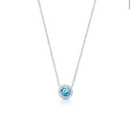 Round Aquamarine halo diamond pendant