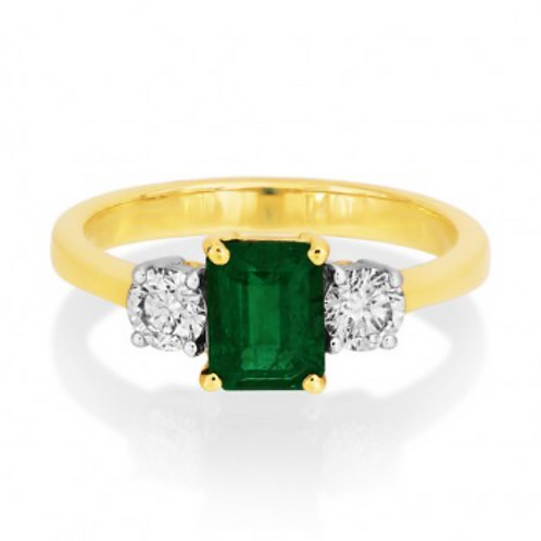 Emerald with Round Diamonds