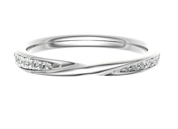 Centre twist Grain set Diamond wedding/stack ring