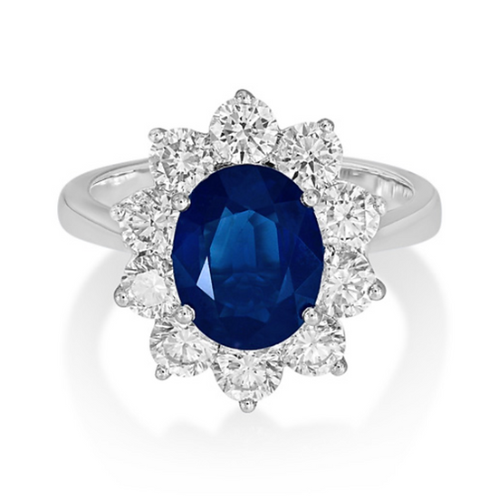 Oval Sapphire Cluster Halo