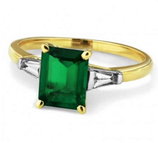 Emerald with Baguette Diamonds