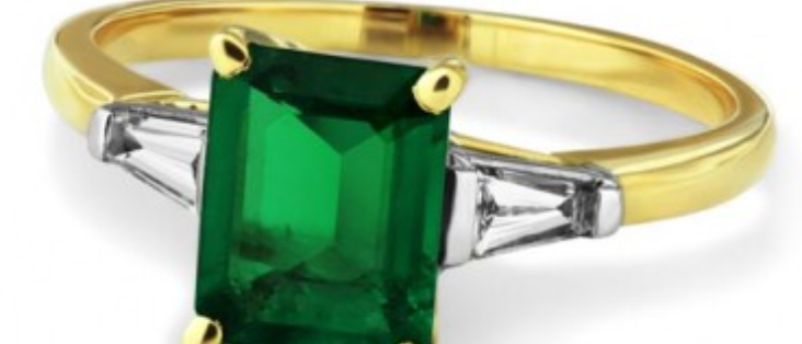 Emerald 1.5ct with Baguette Diamonds