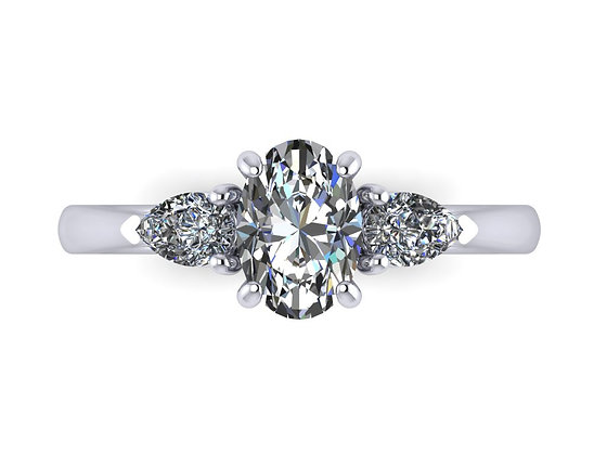 Oval with pear diamond trilogy ring.