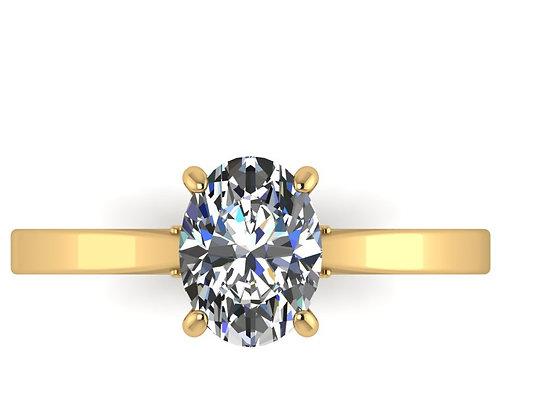 Oval Diamond 18 k Gold 0.85 ct JVS1