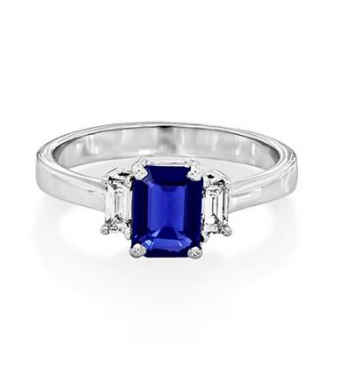 Emerald Cut Sapphire and Diamond Three Stone Ring