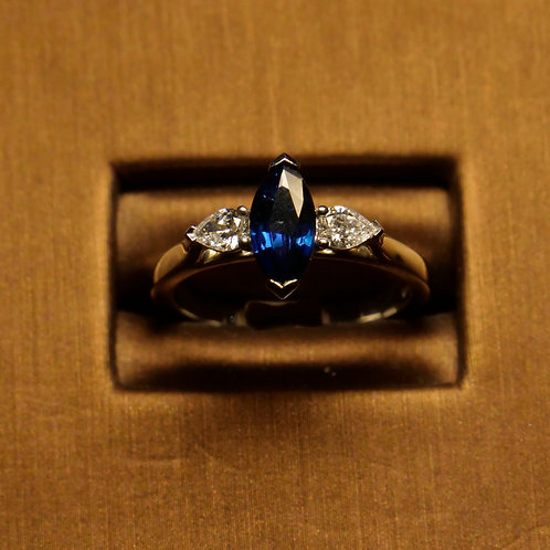 Marquise Sapphire with Side Diamonds