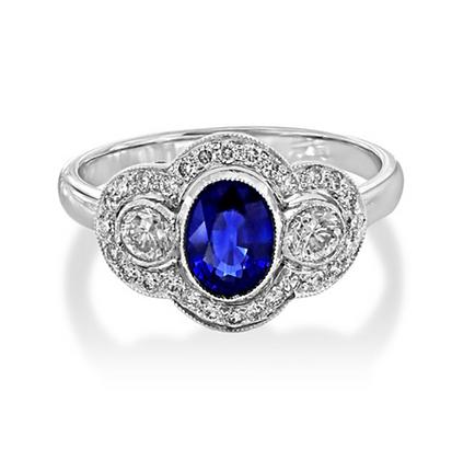 Sapphire Three Stone ring/antique look