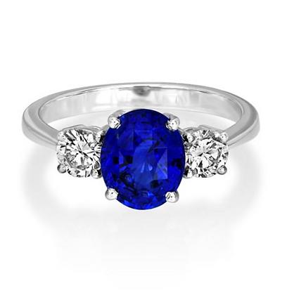 Oval 2ct Fine Sapphire Three Stone Ring